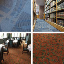 grid of custom commercial carpet installs